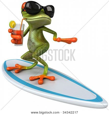 Frog surfing poster