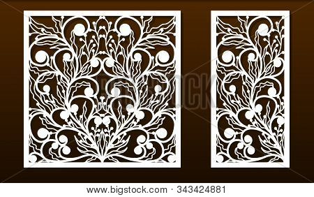 Laser Cut Panel Template, Anstract Floral Pattern. Stencil For Wood Or Metal Cutting, Carving, Paper