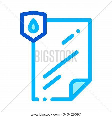 Waterproof Material File Vector Thin Line Icon. Waterproof Material Lamination Document, Industrial