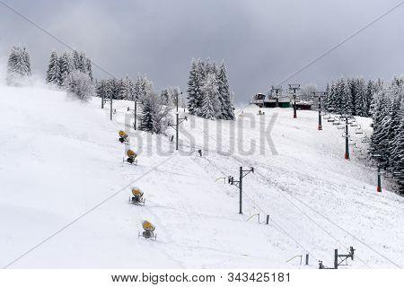 Ruzomberok, Slovakia - December 29: Preparing A Slope For Winter Season In Resort Malino Brdo On Dec