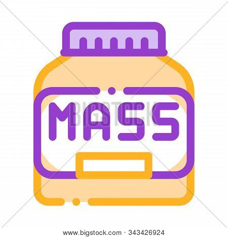 Mass Bottle Sport Nutrition Vector Thin Line Icon. Bio Balancers Healthy Muscle Sportsman Nutrition