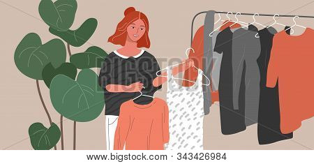 Fashion Stylist Woman In Scandinavian Interior Creating Choice Trendy Clothers Or Outfit. Cartoon Ve