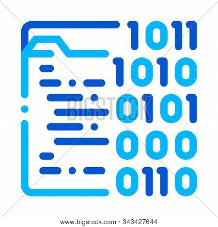 Binary File Coding System Vector Thin Line Icon. Coding System, Data Encryption Linear Pictogram. We