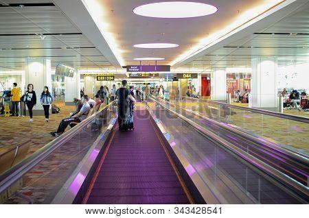 Singapore- 23 Nov, 2019: Interior Of Terminal 1 In Changi Airport Singapore . Singapore Changi Airpo