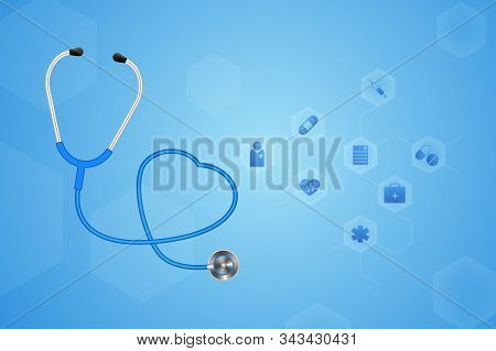 A Stethoscope With A Heart Beat. Illustration Eps-10