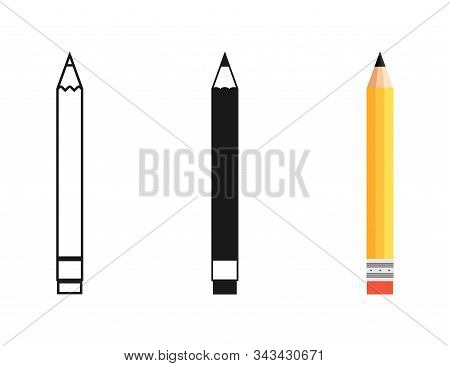 Pencil In Different Designs. Pencil With Rubber Eraser, Isolated On White Background. Pencil With Ru