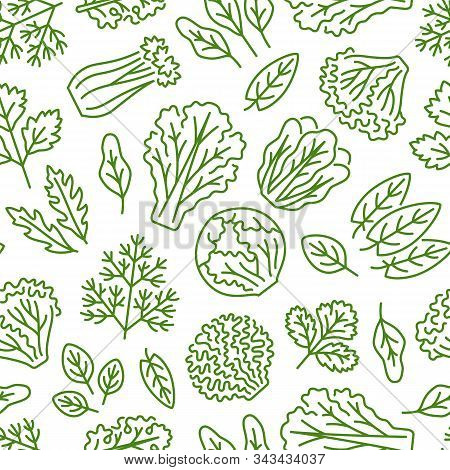 Food Background, Vegetables Seamless Pattern. Healthy Eating - Lettuce, Iceberg Salad, Parsley, Dill