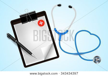 Health Checkup Concept, Doctors Desktop Workspace With Stethoscope And Equipment. Vector