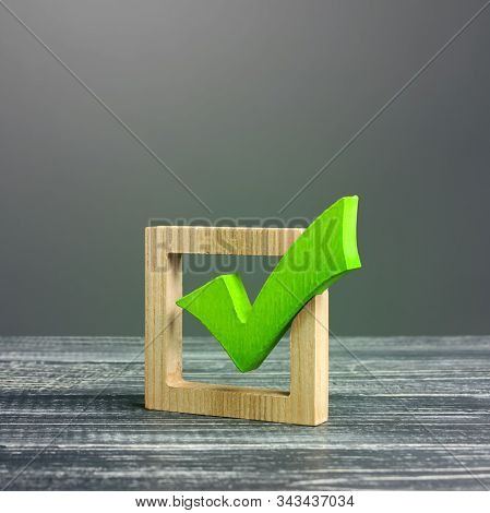 Green Voting Tick In A Box. Checkbox. Democratic Elections, Referendum. The Right To Choose, Change