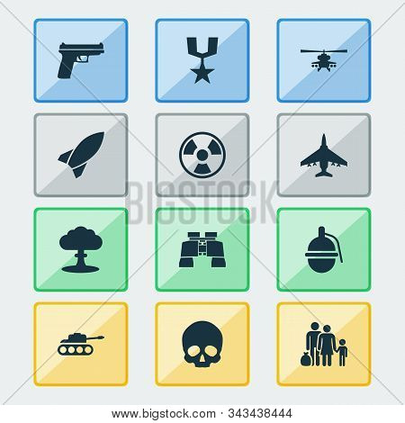 Warfare Icons Set With Helicopter, Nuclear Explosion, Tank And Other Missile Elements. Isolated Vect