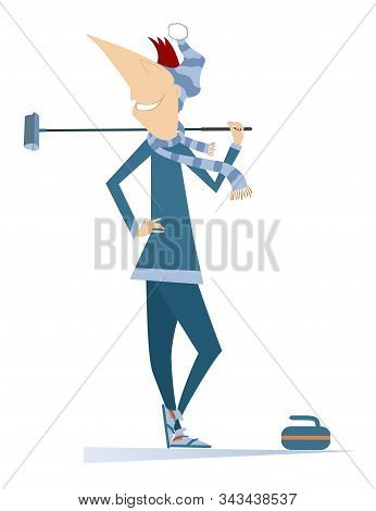 Smiling Young Man Plays Curling Isolated Illustration. Young Man With A Curling Brush And A Stone Is