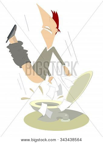 Man With Diarrhea (food Poisoning) In The Toilet Illustration. Sad Man With Diarrhea Flies Under The