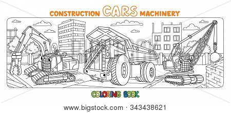 Crushing Equipment And Dump Truck. Coloring Book With Background