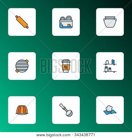 Cook Icons Colored Line Set With Rolling Pin, Soup Ladle, Dish Dryer And Other Decaf Elements. Isola