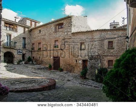 Spain, Montfalco Murallat - October 10, 2018: The Main Square Of The Mediaeval Walled Village Montfa