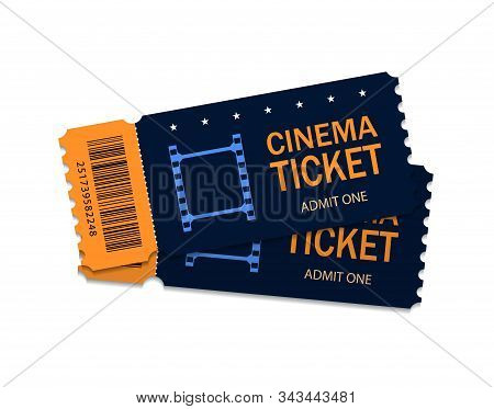Two Ticket Of Cinema For Movie. Template Red Vip Entry Pass Tickets For Theater, Festival, Cinema On
