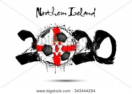 Abstract Numbers 2020 And Soccer Ball Painted In The Colors Of The Northern Ireland Flag In Grunge S