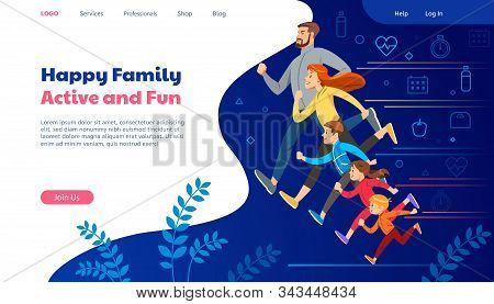Big Family Jogging. Home Page Site Banner. Exercise People Modern Illustration. Illustration Slide F