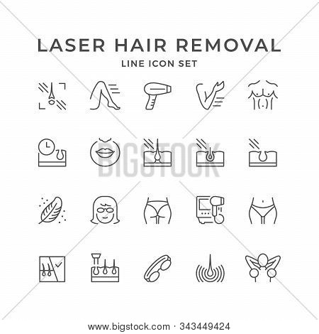 Set Line Icons Of Laser Hair Removal Isolated On White. Epilation Equipment, Spa Procedure, Skin Car