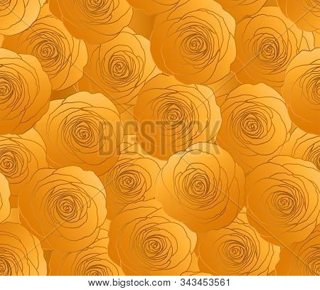 Gold Rose Flower Vector Pattern. Glitter Gold Fashion Paper. Web-Site Floral Seamless Background. Holiday, Wedding Decoration. Old Fashion, Retro, Vintage Paper. Present Wrapping.