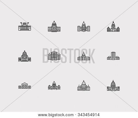 Building Icons Set. Alabama State Capitol And Building Icons With Landscape, Texas State Capitol, Id