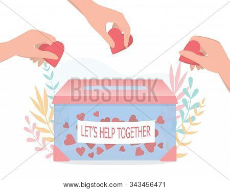 Donation Concept. Little People Holding Hearts As A Methaphor Of Philanthropy.
