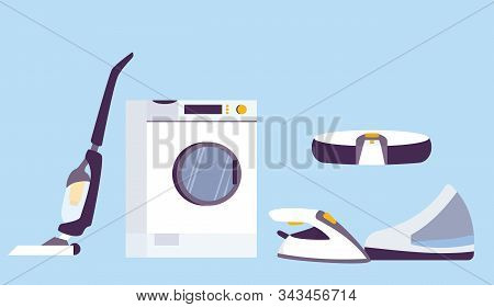 Household Appliances Set. Home Electric Devices. Washing Machine,