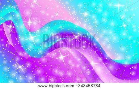 Unicorn Pattern. Fairy Background. Mermaid Rainbow. Holographic Magic Stars. Rainbow Fantasy Univers