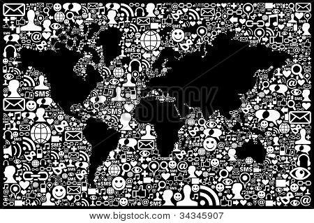 Social Media Network Icon Earth Map