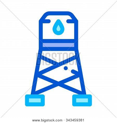 Water Cistern Tower Vector Sign Thin Line Icon. Health Clean Water In Reservoir, Treatment Linear Pi