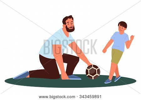 Dad And Son Play With A Ball. Father Teaching His Son