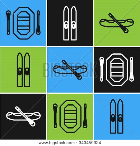 Set Line Rafting Boat, Rafting Boat And Ski And Sticks Icon. Vector