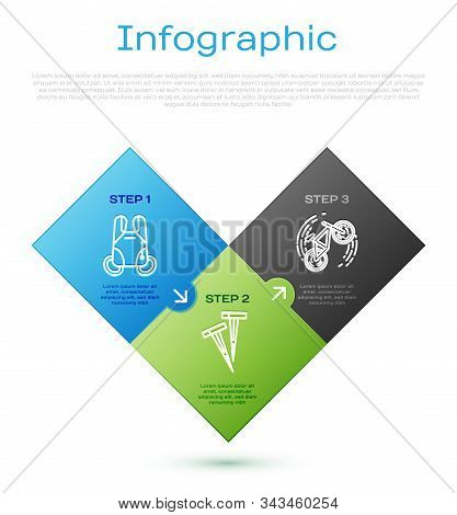 Set Line Parachute, Bicycle Trick And Pegs For Tents. Business Infographic Template. Vector