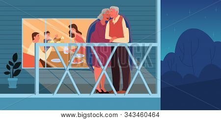 Old Couple Embracing Outside. Elderly People Spend Time Together
