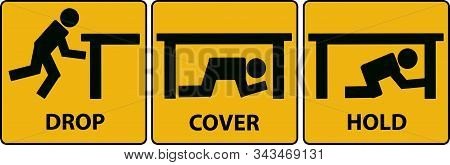 Drop, Cover, Hold Sign. Earthquake Vector Icon.