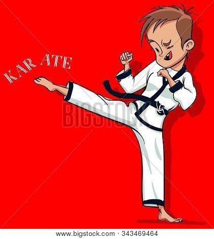 Cute Cartoon Karate Boy On Red Background
