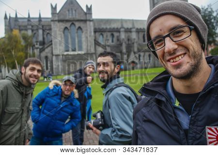 Dublin, Ireland »; March 2017: A Group Of Friends Outside A Church In The City Of Dublin