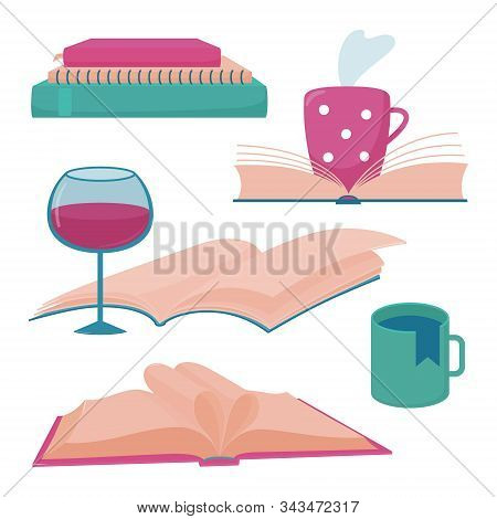 Set Of Book Blog, Reading Club, Bookstore Logo Templates With Books, Glass Of Wine, Cup Of Hot Tea O