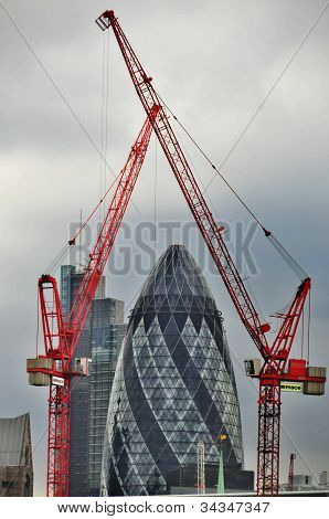 The modern glass buildings of the Swiss Re Gherkin