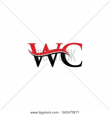 Initial Wc Letter Linked Logo. Creative Letter Wc Logo Vector With Red And Black Colors. Wc Logo Des
