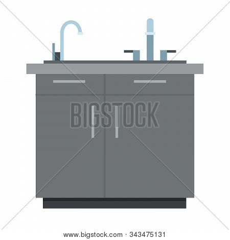 Kitchen Cabinet With Sink Vector Icon Flat Isolated Illustration