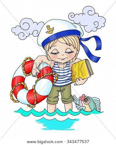 .vector Cartoon Illustration Relaxation The Sea, Boy-seafarer With A Narrow Circle