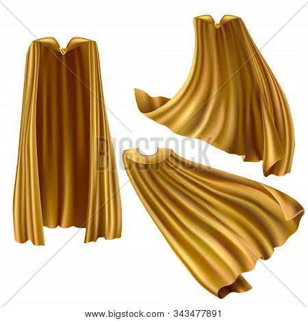 Golden Superhero Cape, Cloak With Triangle Pin Front And Back View. Fluttering On Wind Rippled Silk