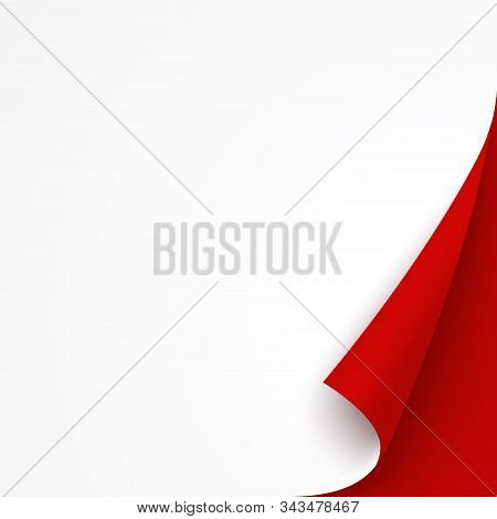 White Banner Template With Red Curled Corner. Square Bent Paper Page For Christmas Sale, Promo Or Fl