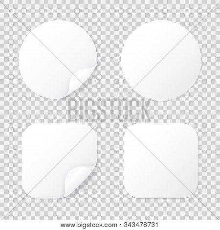 Round And Square Sticker With Bent Corner, White Patches Template Isolated With Shadow, Sticky Price