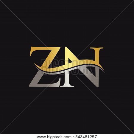 Initial Gold And Silver Zn Letter Linked Logo With Black Background. Creative Letter Zn Logo Design.