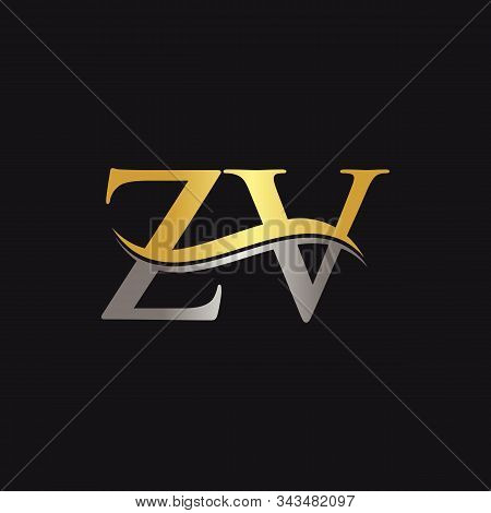 Initial Gold And Silver Zv Letter Linked Logo With Black Background. Creative Letter Zv Logo Design.