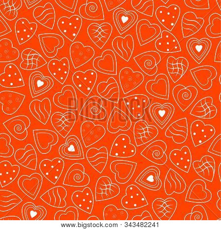 Valentine's Day Seamless Pattern. White Hearts On Lush Lava Background. Color Trend 2020 Year. Vecto