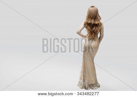 Woman Evening Sparkling Dress Back Rear View, Elegant Fashion Model In Beautiful Gown, Beauty Studio