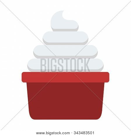 Portion Of Whipped Cream Vector Flat Isolated